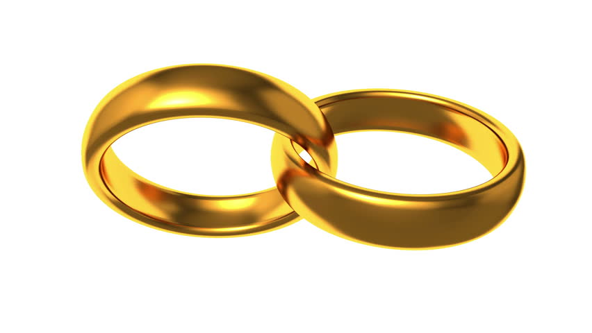 Wedding Rings Rotating On White Background 3D Animation