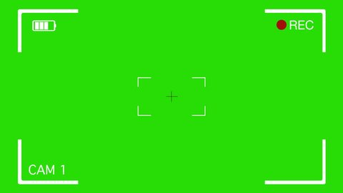 Camera Viewfinder Layer. Video camera viewfinder overlay on green screen. To use over other images