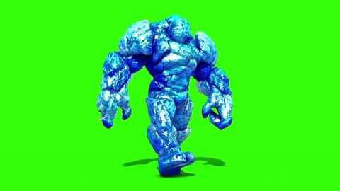 Ice Monster Walkcycle Green Screen 3D Rendering Animation