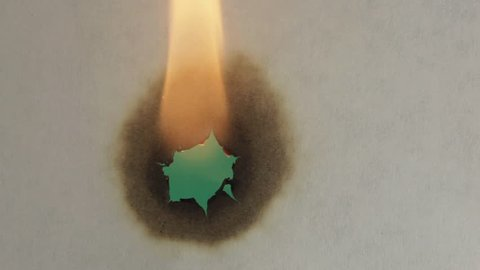 Burning paper. The paper was a fire burning. Green screen.