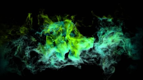 Abstract smoke cloud. Smoke design. Light blue and green, smoke on black background. Animation of color powder explosion on black background. Slow motion fog. Explosion of colorful gas. Fume, Cloud