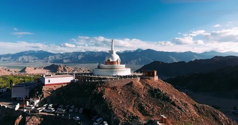 Shanti Stupa is a Buddhist white-domed stupa (chorten) on a hilltop in Chanspa, Leh district, Ladakh.