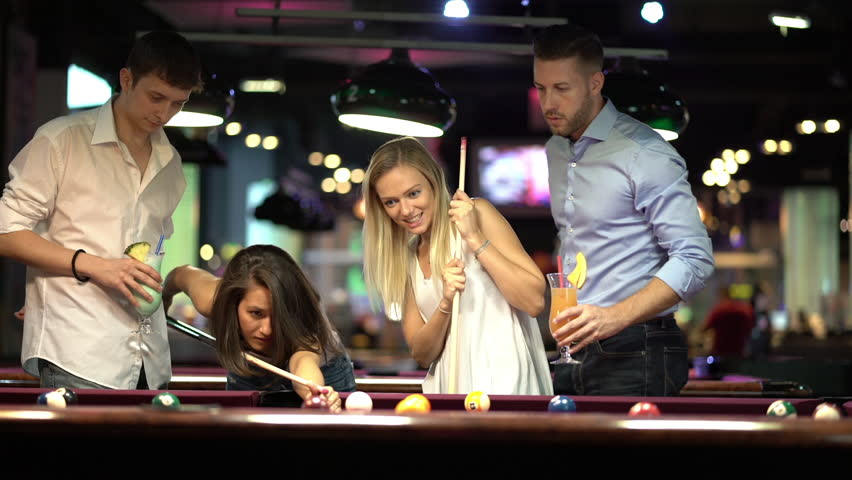 three ladies are playing billiards and having unforgettable threesome  24031