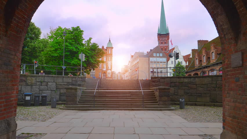 City center at sunset, Luebeck,Germany.