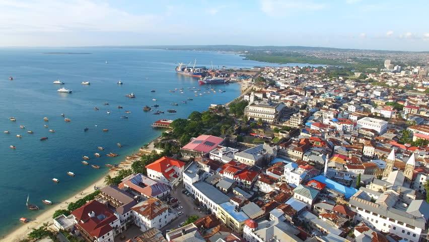 Aerial view of the Stone Town, old part of Zanzibar City, main city of Zanzibar, Tanzania from above, Africa, Indian Ocean, 4k UHD