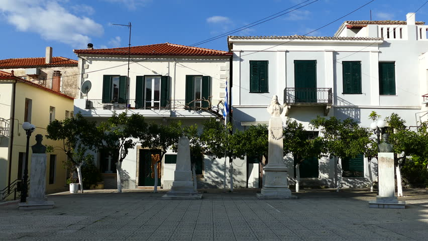 Town square in the village limni Greece