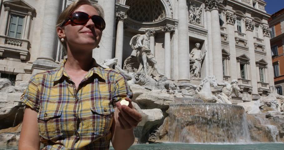 Confident Tourist Woman Throw Coin In Trevi Fountain, Rome Landmark Lucky Symbol