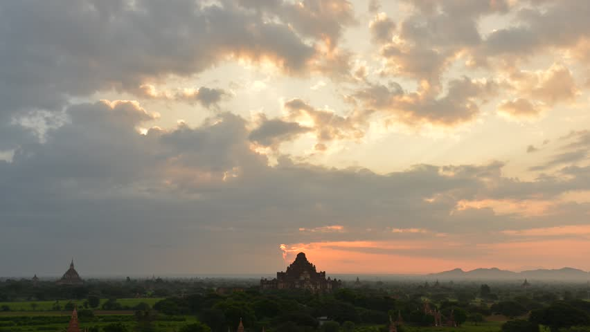 Sunrise panorama view over temples of Bagan in Myanmar