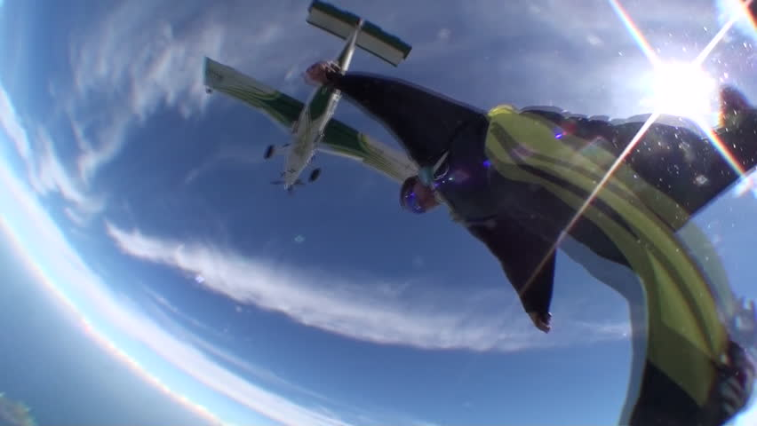Skydive wing suit over the beach | Shutterstock HD Video #2973139