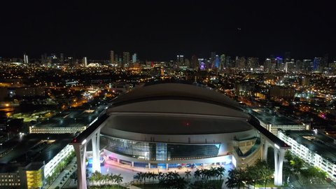 MIAMI, FL, USA - AUGUST 1, 2017: Aerial reveal Marlins Park