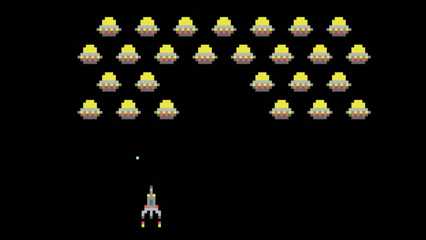 Space Arcade Space Video Game Animation Concept. Pixel Art Style Ufos and Spaceship Cartoon Style Motion Design Animated Footage. 4K