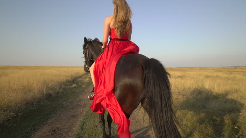 Girl Horseback Rider Wearing Long Red Dress Riding Horse On Country Road In The -1538