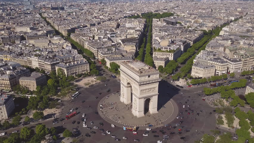 Summer day paris cityscape famous arch de triumph traffic circle aerial panorama 4k time lapse france | Shutterstock HD Video #29776369