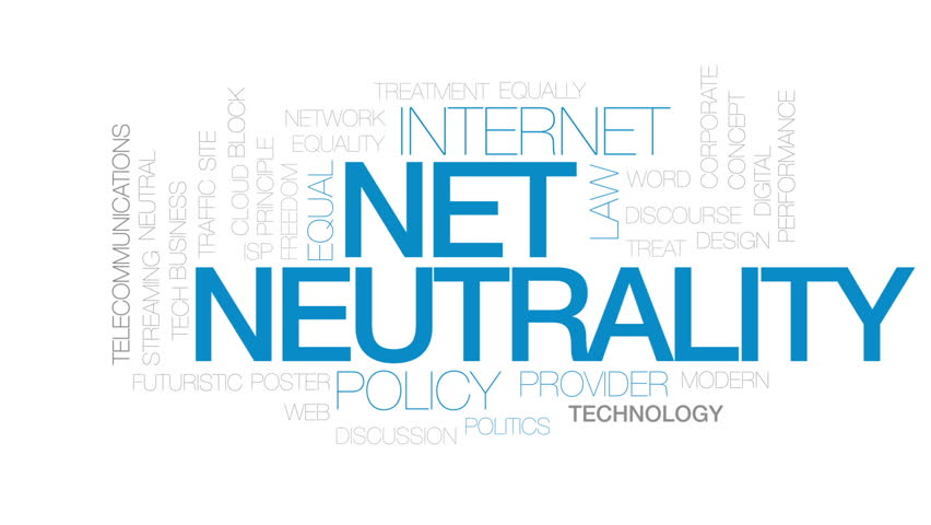 Net neutrality animated word cloud, text design animation. Kinetic typography.