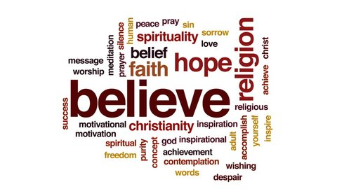 Believe animated word cloud, text design animation.