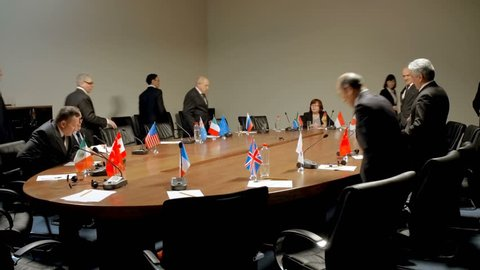 Members of the international conference round table discussion. Political debate