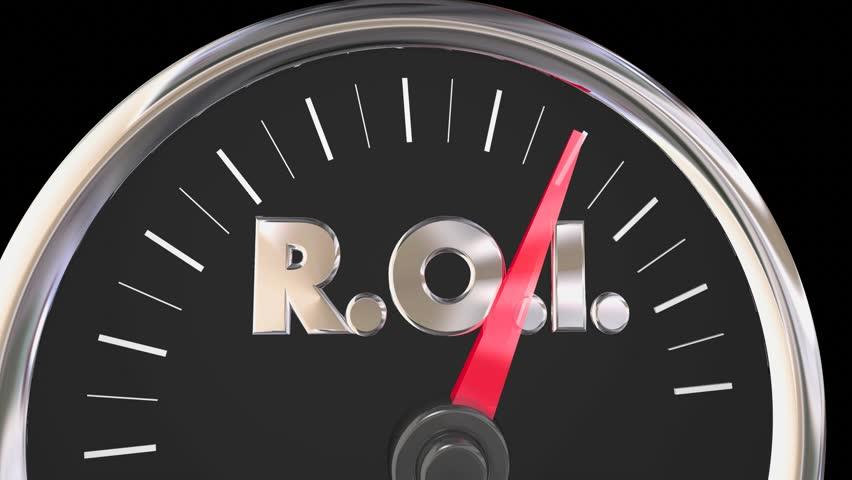 ROI Level Gauge Speedometer Return on Investment 3d Animation