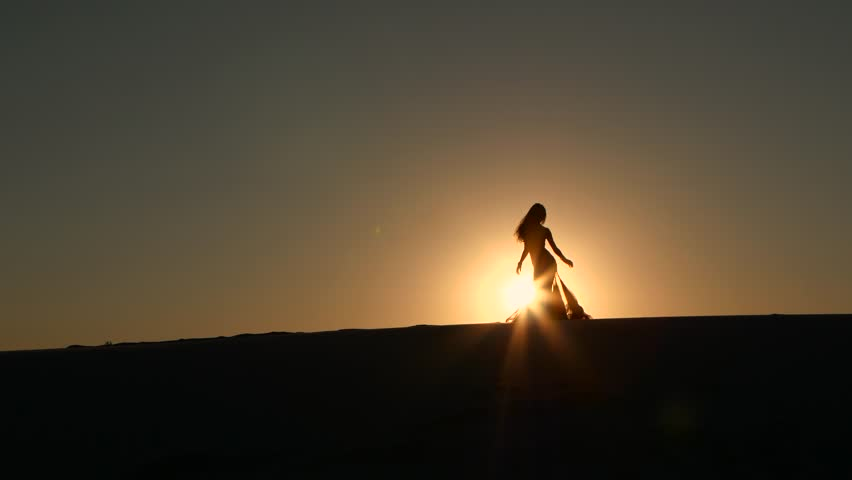 Professional dancer dances gracefully against the background of a hot sunset. Silhouette | Shutterstock HD Video #29887579