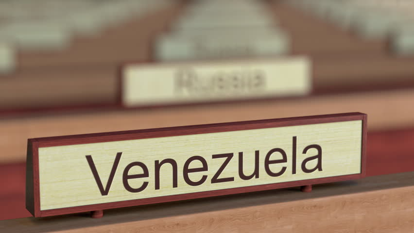 Venezuela name sign among different countries plaques at international organization. 3D rendering