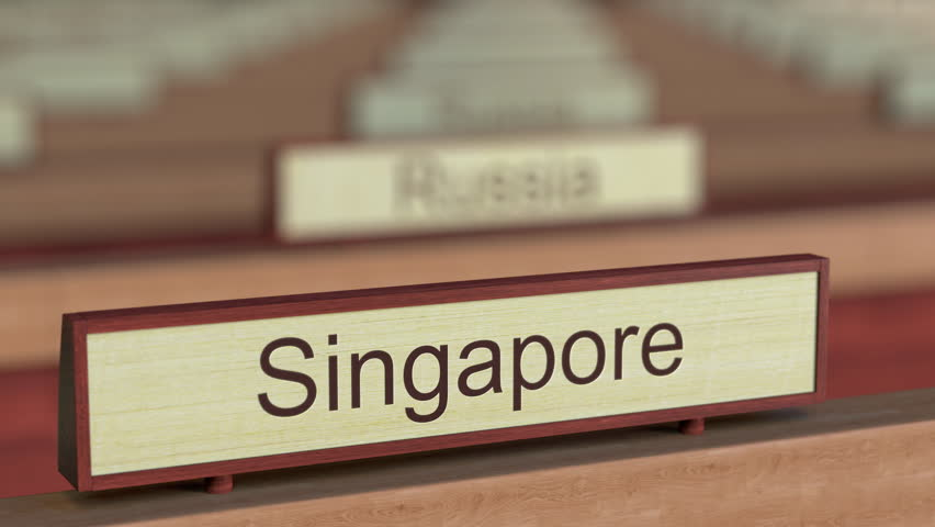 Singapore name sign among different countries plaques at international organization. 3D rendering
