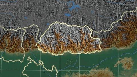 Bhutan Map Stock Video Footage - 4K and HD Video Clips   Shutterstock