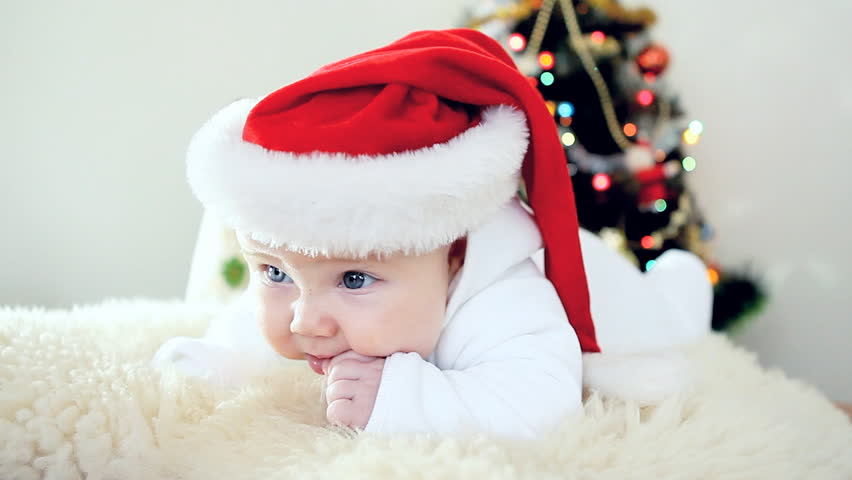 Christmas Baby Images Hd.Baby In Christmas Hat On Stock Footage Video 100 Royalty Free 2996959 Shutterstock
