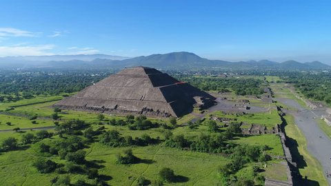 Aerial view of pyramids in ancient mesoamerican city of Teotihuacan, Pyramid of the Sun, Valley of Mexico from above, Central America, 4k UHD