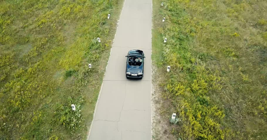 Aerial view black cabriolet  car driving on country road, luxury car driving through field and hide under trees near Kiev | Shutterstock HD Video #29997208