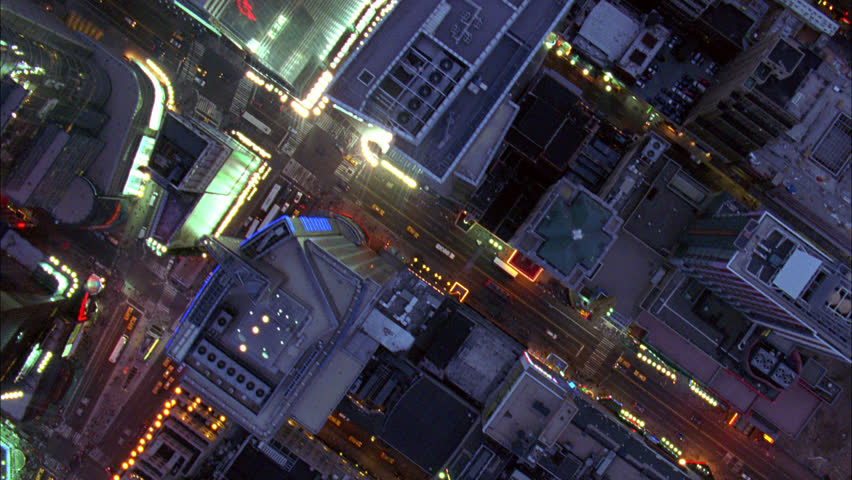 Overhead Aerial Shot of NYC Manhattan at Night, New York USA | Shutterstock HD Video #30002983