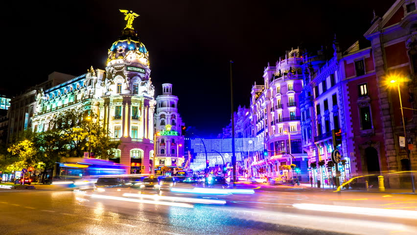 MADRID, SPAIN - SEPTEMBER 9: Time-lapse view of the Gran Via as traffic passes by in the center of the city on September 9, 2016 in Madrid, Spain.
