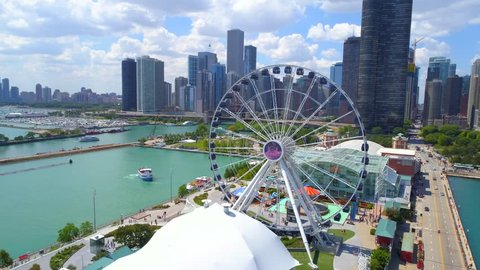 CHICAGO, IL, USA - AUGUST 4, 2017: Aerial drone shot Chicago Navy Pier Downtown 4k 60p
