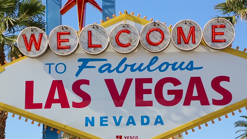 Las Vegas, Nevada - April 2017: Welcome sign at the start of the famous Las Vegas Strip. Welcome to Fabulous Las Vegas sign by day, Nevada. Welcome to Las Vegas sign on a bright sunny day closeup.