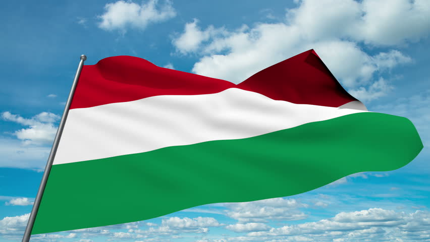 Hungary flag waving against time-lapse clouds background