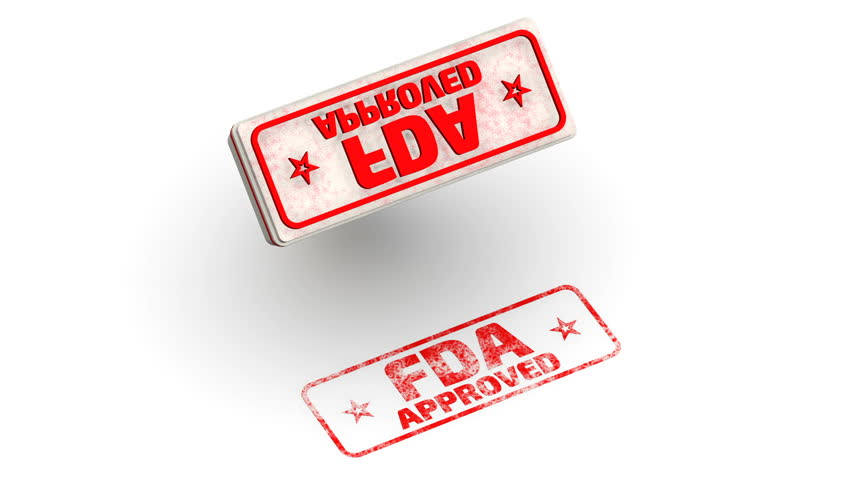 "FDA approved. Stamp leaves a imprint. Red seal and imprint ""FDA APPROVED"" on white surface. FDA - Food and Drug Administration is a federal agency of the United States. Isolated. Footage video 