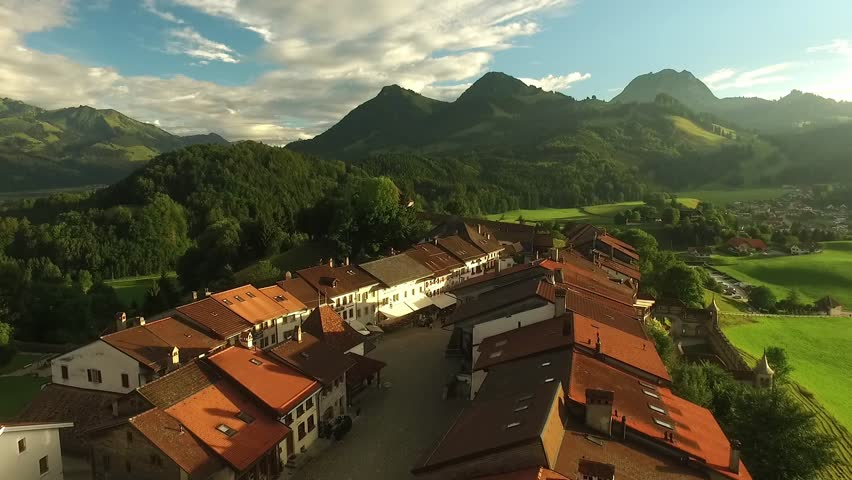Beautiful view of the medieval town of Gruyeres, home to the world-famous Le Gruyere cheese, canton of Fribourg, Switzerland | Shutterstock HD Video #30072559
