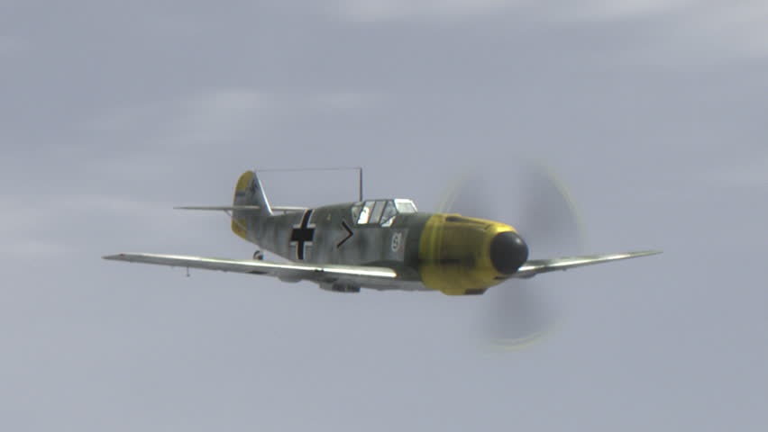 Messerschmitt Bf.109 World War II German Combat Aircraft in dogfight. Production Quality Footage in ProRes HQ codec.