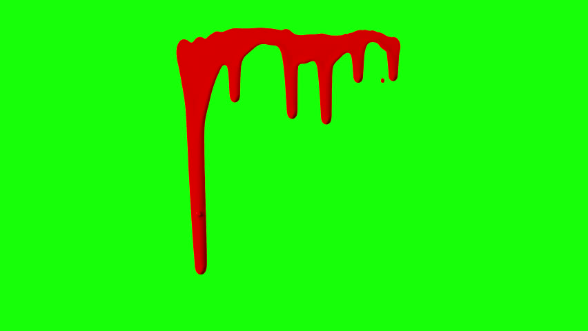 Red ink dripping over green screen background. Close-up shot
