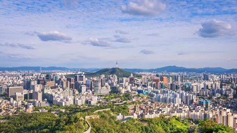 Timelapse of Seoul City ,South Korea.Zoom in