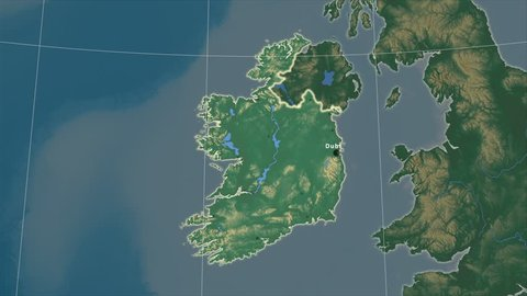 The Ireland area map in the Azimuthal Equidistant projection. Layers of main cities, capital, administrative borders and graticule. Relief map