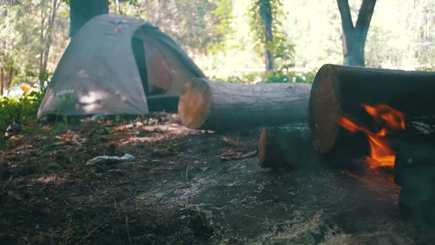 Stock Footage of Bonfire Burns in the Camping Amidst a Tent and Logs in the Forest. Slow Motion in 96 fps. Beautiful view of burning wood in the daytime. Open fireplace. Tent at the background.