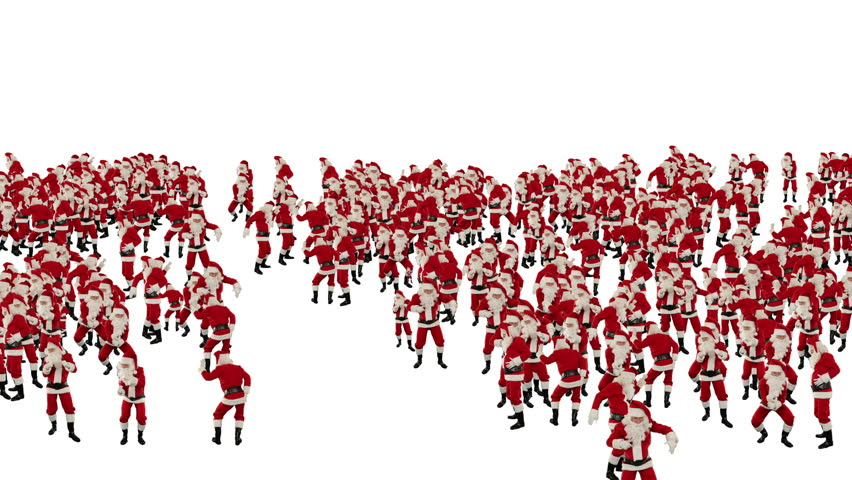 Santa Claus Crowd Dancing, Christmas Party Happy New Year Shape, against white