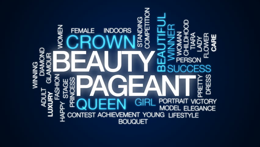 Beauty pageant animated word cloud, text design animation.