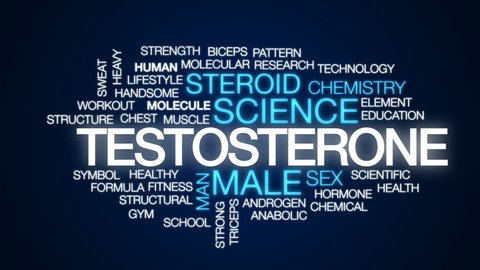Testosterone animated word cloud, text design animation.