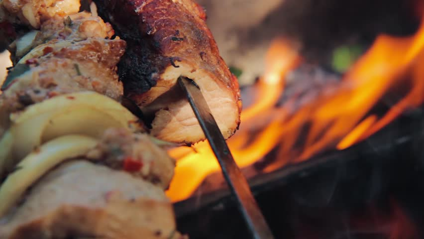 Barbecue meat close up. barbecue party. grilling shashlik on barbecue grill. bbq meat. picnic party. | Shutterstock HD Video #30195409