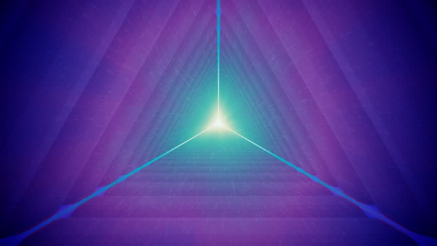 Violet Triangular Tunnel and Particles - Seamlessly Looping Animated Background