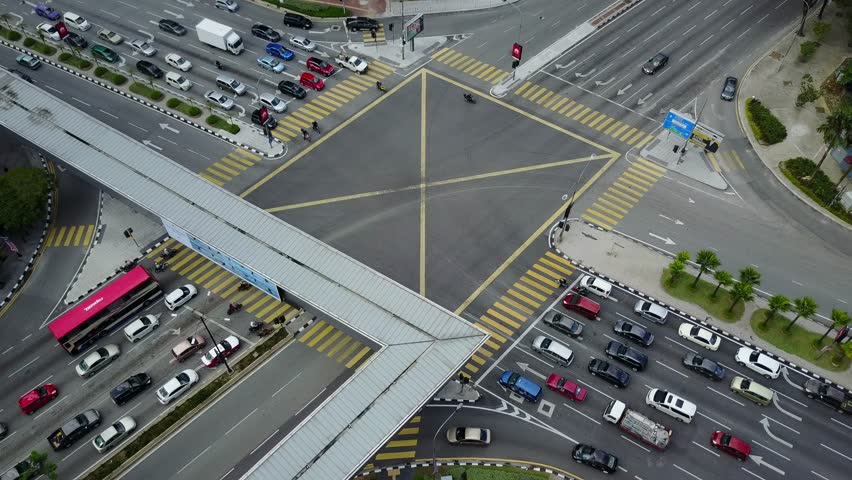 KUALA LUMPUR, MALAYSIA - AUGUST 29, 2017: Aerial view thru drone perspective at Ampang Park four junction during sunny day. This junction located at Jalan Ampang, Kuala Lumpur.  | Shutterstock HD Video #30226039