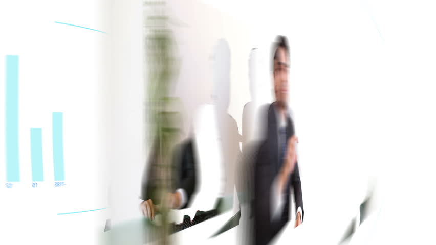 Animation of business people looking at a futuristic screen