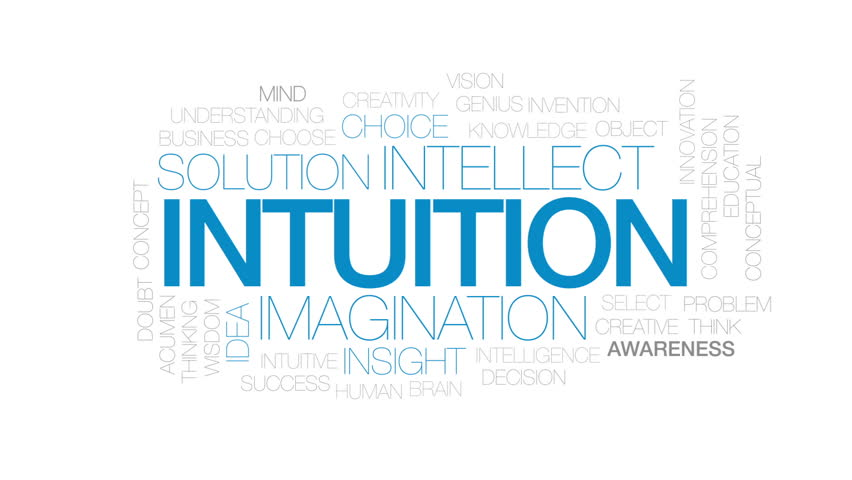 Intuition animated word cloud, text design animation. Kinetic typography.