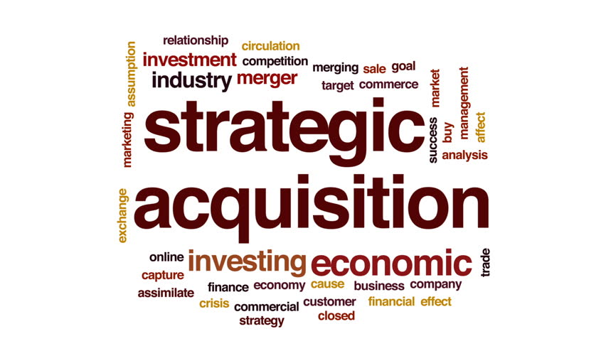 Strategic acquisition animated word cloud, text design animation.