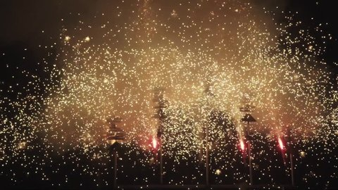 Fireworks during the correfoc tradition in Majorca